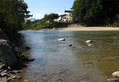 寒河江川と大井沢川の出合い