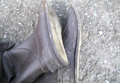 フェルトソールが剥がれた靴底