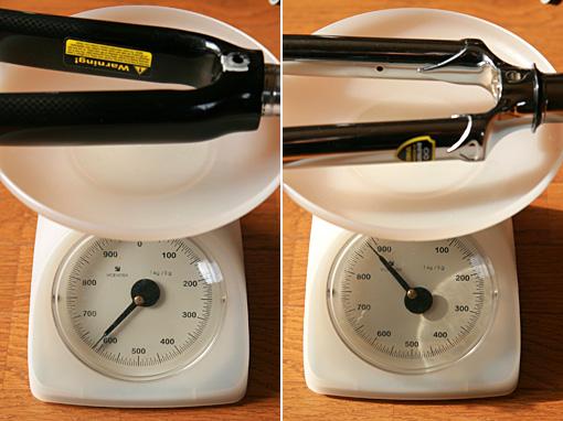 カーボンフォークとクロモリフォークの重量差