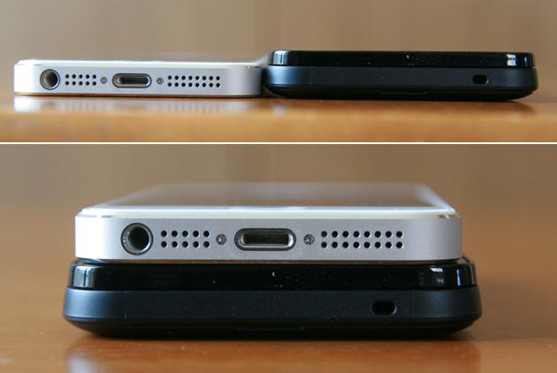 AtermMR03LNとiPhone5を並べて横から見た画像