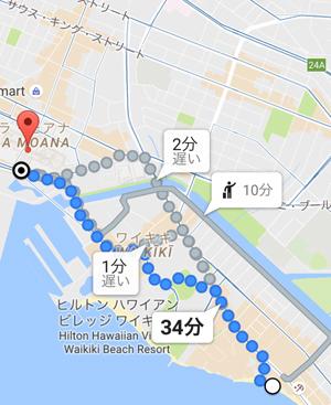 Google Mapでルート検索をした画像