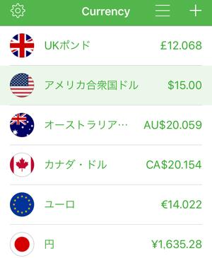 為替計算アプリ Currencyの為替レート表示画面